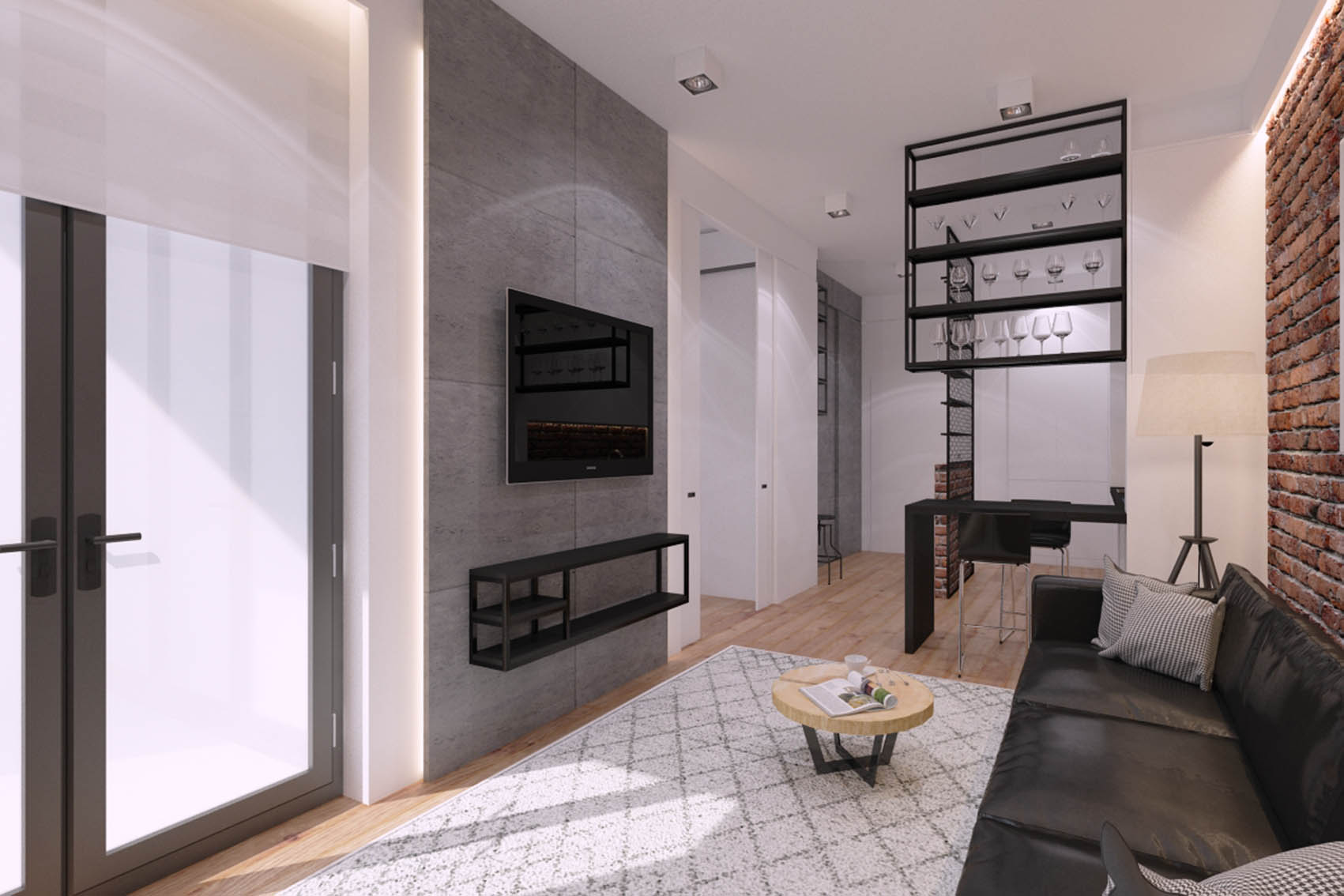 The interior design of the apartment at Prince Witold St. in Wroclaw 43m2 – version II