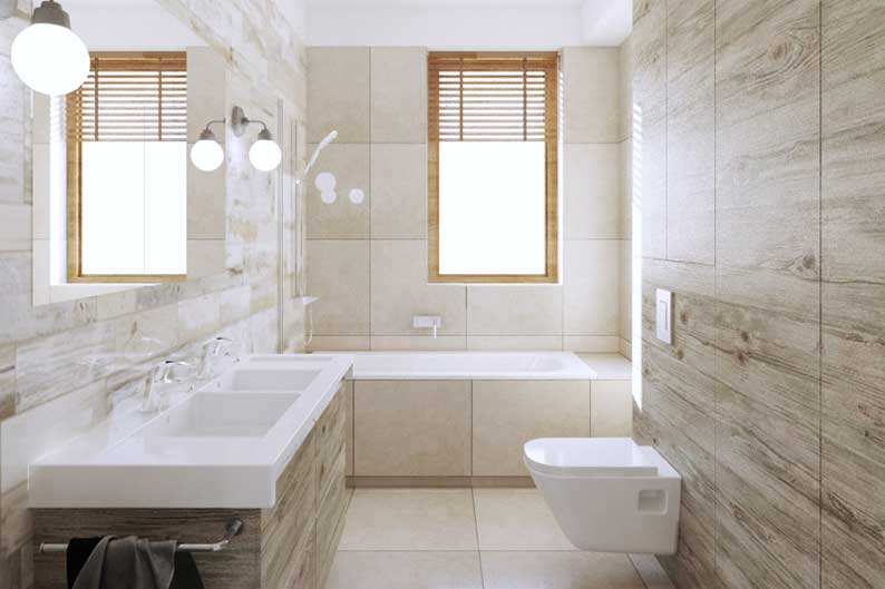 Interiors large bathroom, private house Domaszczyn