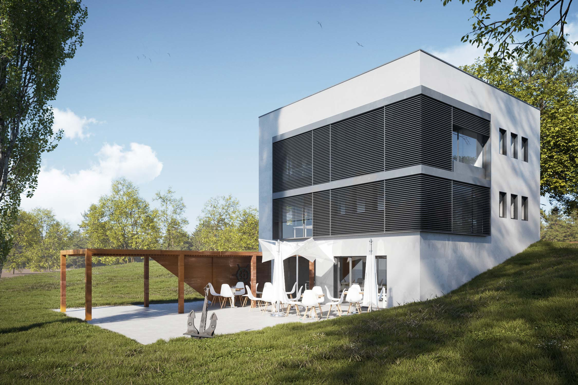 Redevelopment of an office building on an island in Wrocław - 2 versions