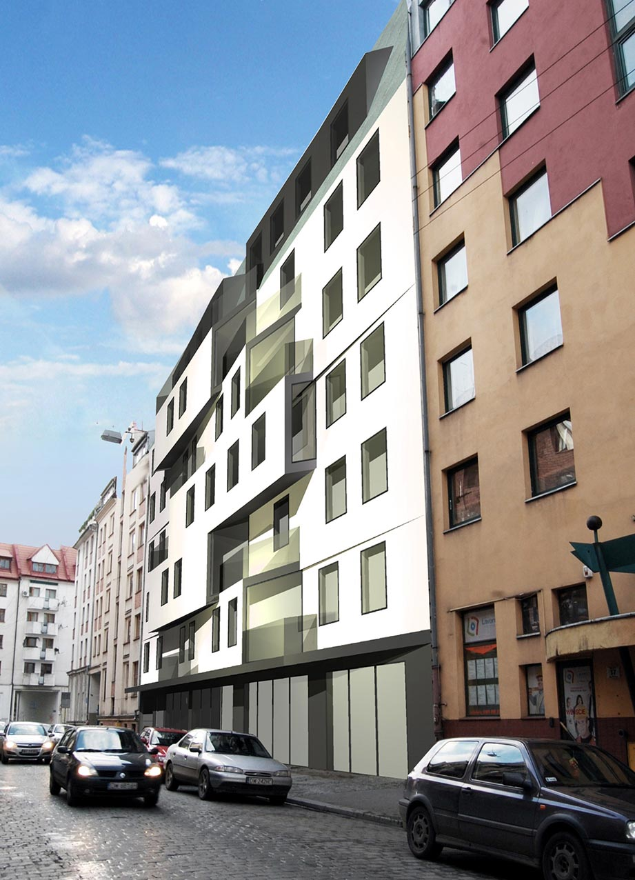 The concept of residential-commercial building Wrocław, Piwna St. Investor: Verity Developmen. Surface: 2 715 m2