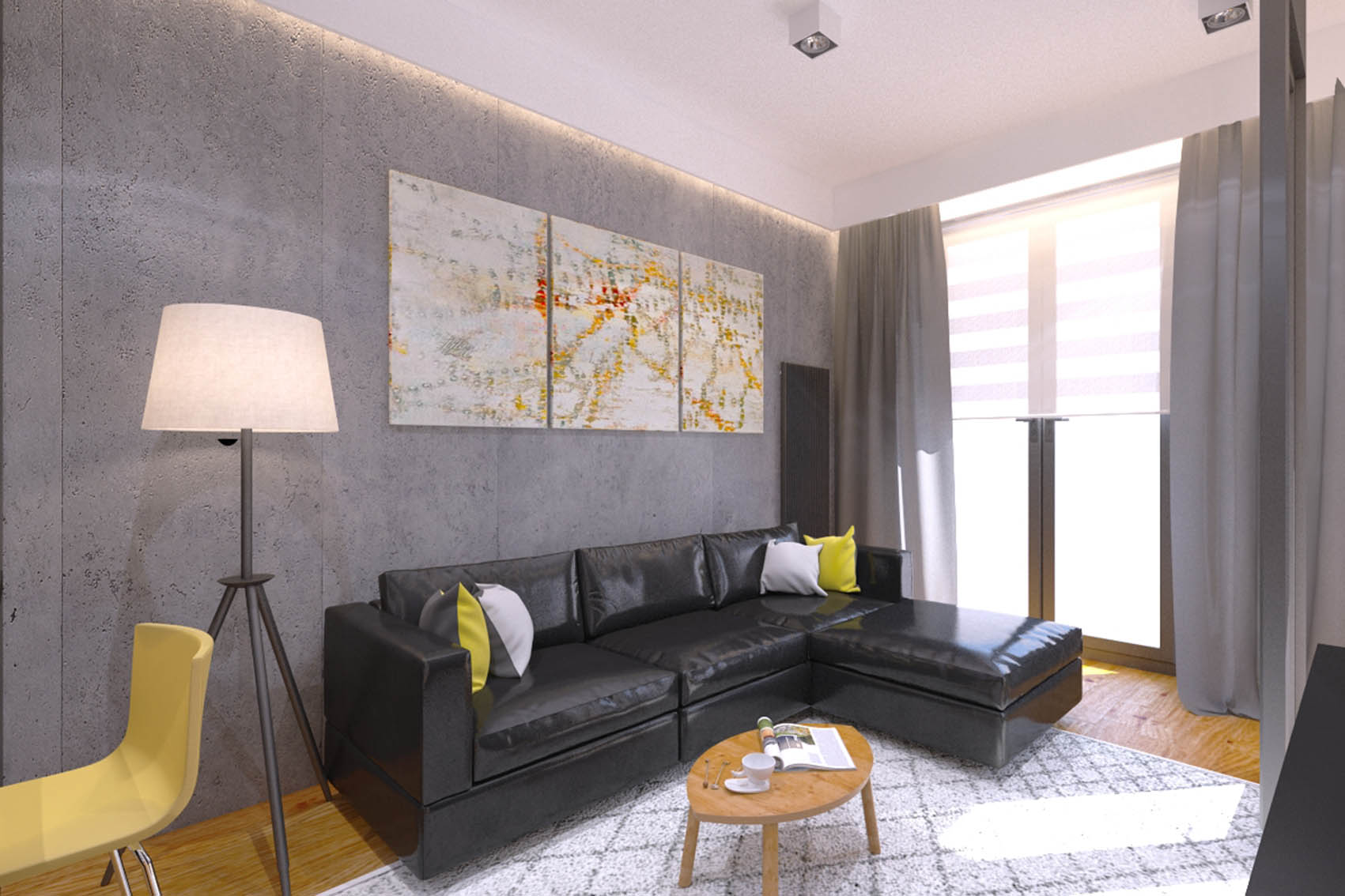 The interior design of the apartment at Prince Witold St. in Wroclaw 43m2