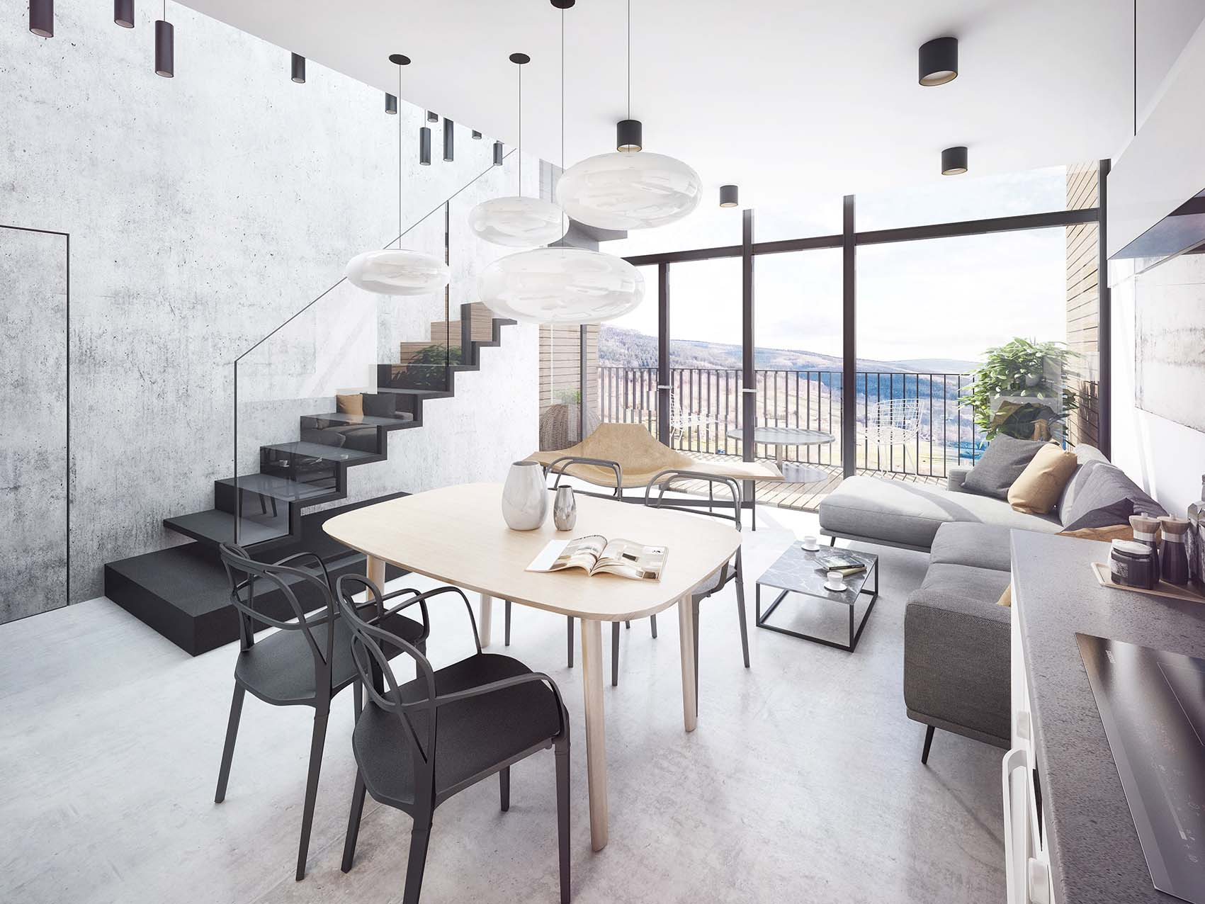Interior design of the model larger apartment in the mountains.