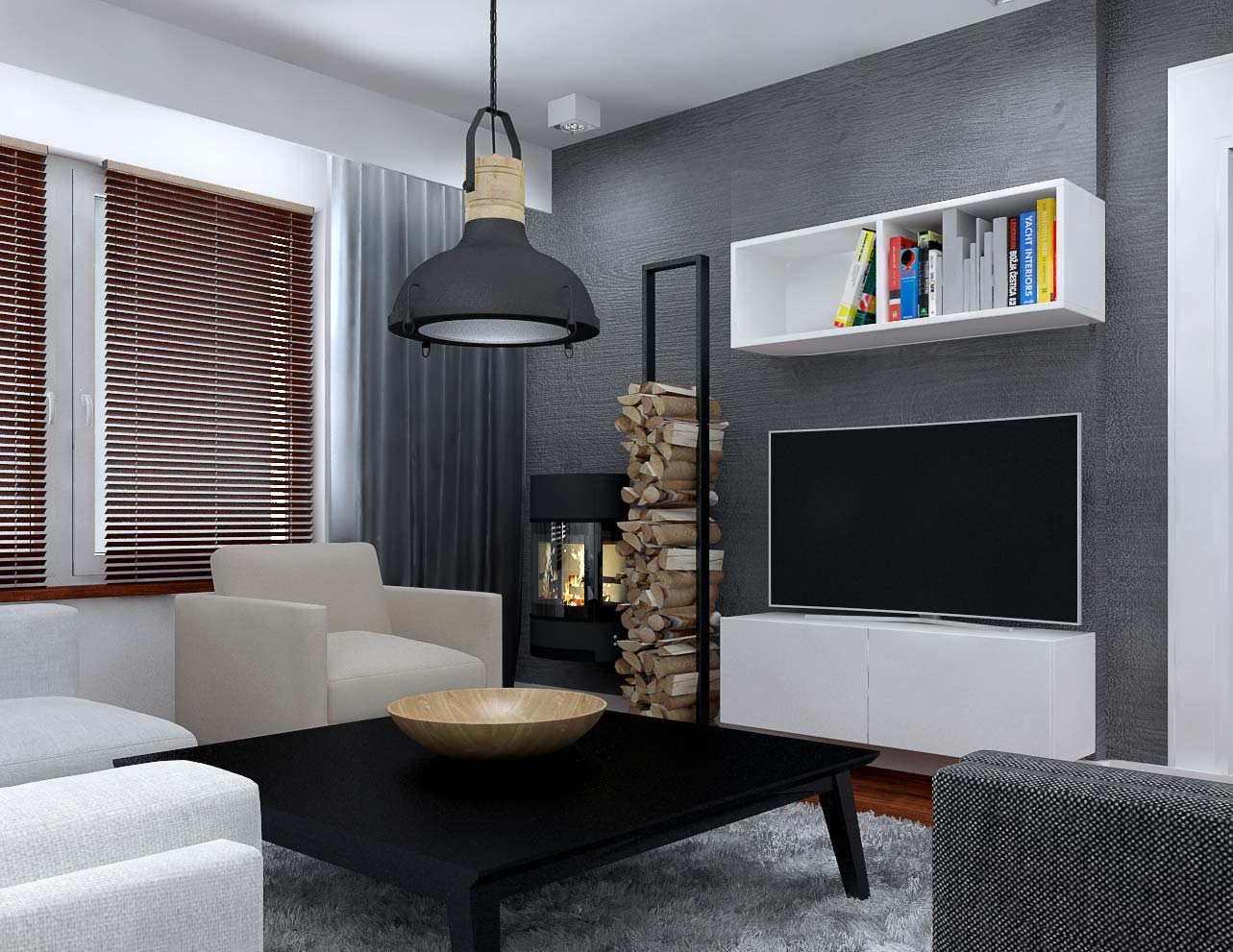 Design of living room with dining room